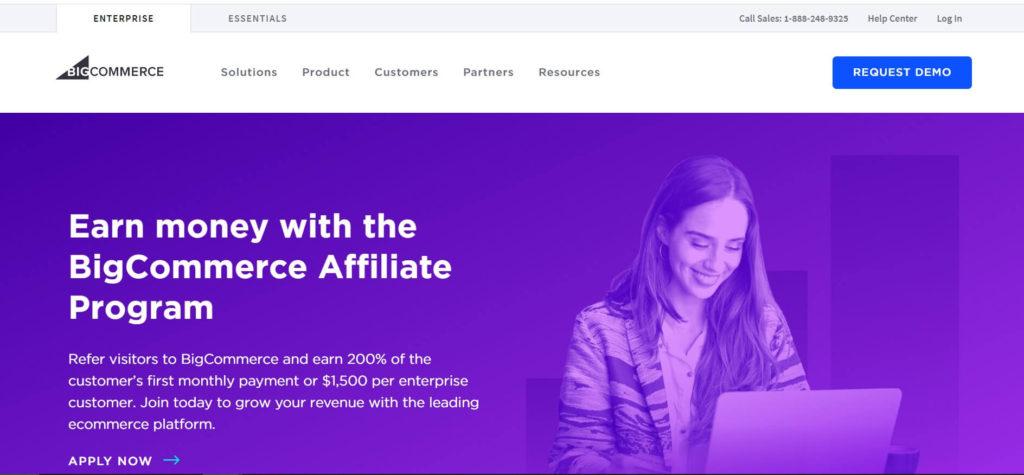 Страница партнерской программы BigCommerce