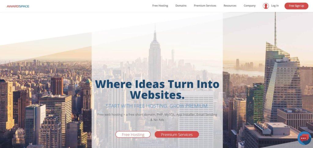 Сервис с бесплатным хостингом для сайтов от AwardSpace