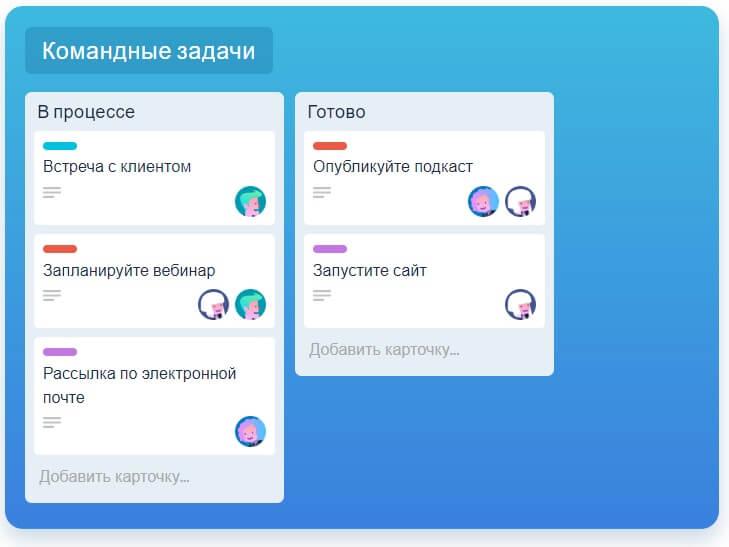 Интерфейс сервиса таск менеджера Trello