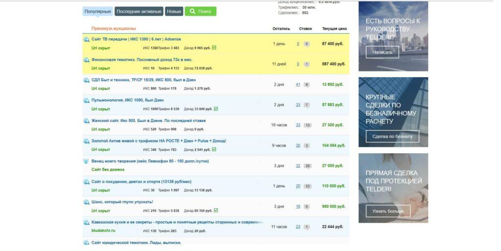 Цены на сайты Telderi